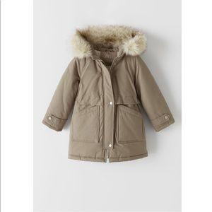 Zara Girls 11/12 Faux Fur Hooded Parka